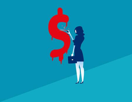 Businesswoman spraying dollar sign. Woman spraying graffiti of a dollar sign on wall. Concept business vector illustration.