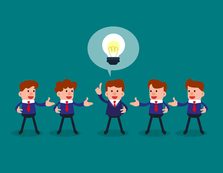 Successful businessman give ideas for another business people. Concept business business vector illustration.