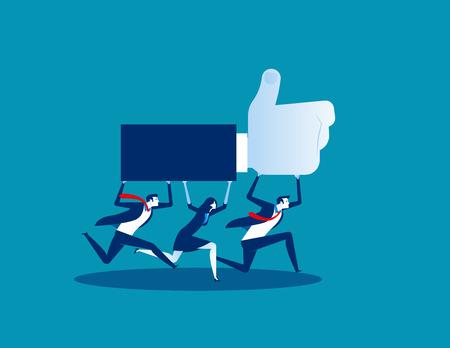Travail d'équipe pour le succès. Illustration vectorielle de concept d'entreprise. Style design plat. Vecteurs