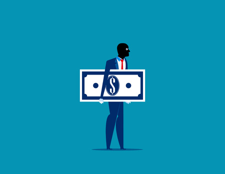 Thief in a black mask stole money. Concept business vector illustration.
