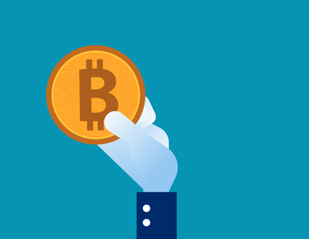 Business hand holding bitcoin. Concept business vector illustration.