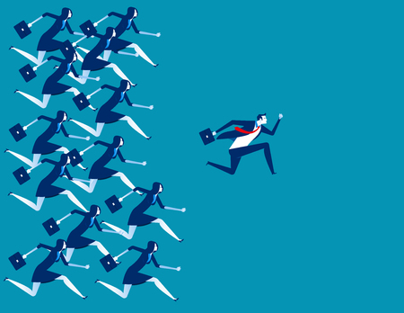 Business people and leader running to success. Concept business vector illustration.