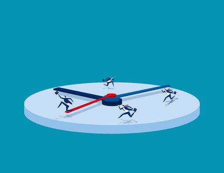 Hurry. Business people and rush hour. Concept business vector illustration.