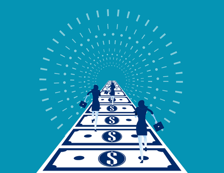 Business people running on money road. Concept business vector illustration. 일러스트