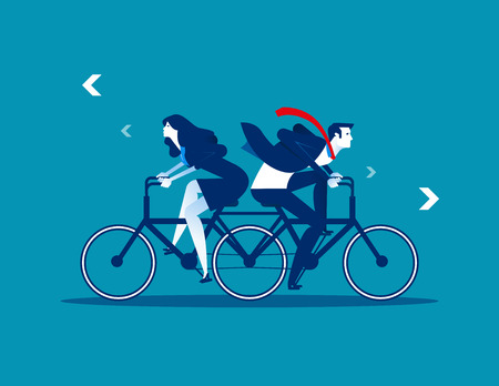 Two Business person riding the same bike in opposite directions. Concept business vector illustration. Flat design style.