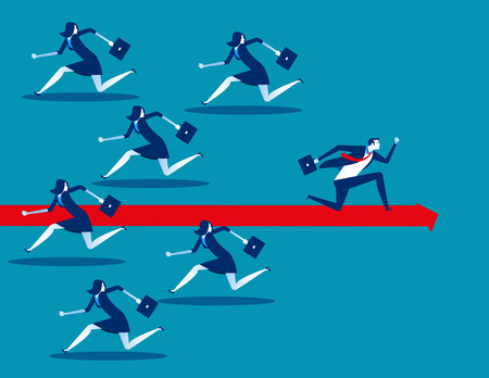 Business person running in different way. Concept business vector illustration.