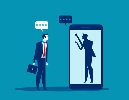 Businessman talking with anonymous person inside of smartphone. Concept business vector illustration.