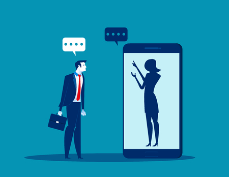 Businessman talking with anonymous person inside of smartphone. Concept business vector illustration. Illustration