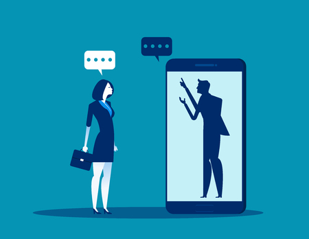 Businesswoman talking with anonymous person inside of smartphone. Concept business vector illustration.