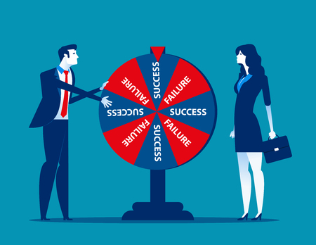 Business team and result of wheel of fortune. Concept business vector illustration.