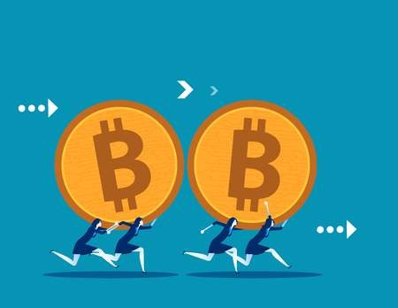 Business team carrying bitcoin. Concept business vector illustration. Technology currency.