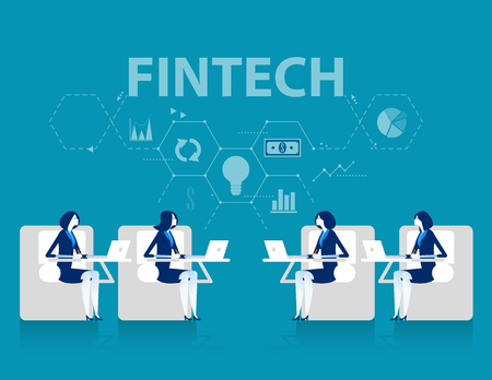 Fintech. Business team and in financial internet technology. Investment marketing Startup Plan. Concept business vector illustration.