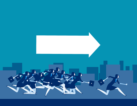 Follow the leader. Business people running. Concept business vector illustration. 일러스트