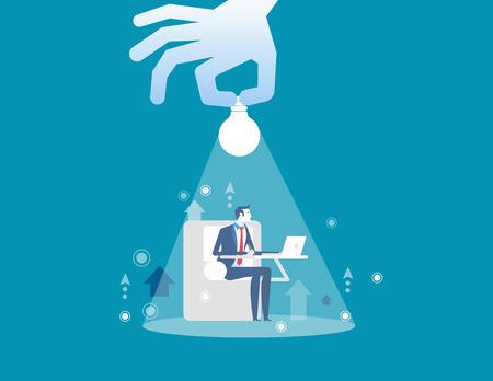 Businessmen working. Hand holding businessman and lighting. Concept business vector illustration.