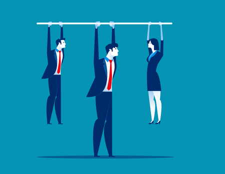 Leadership.  Manager holding bar with hanging staff. Concept business vector illustration.