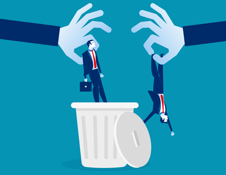 Layoff. Manager dropped staff into trashcan. Concept business vector illustration.