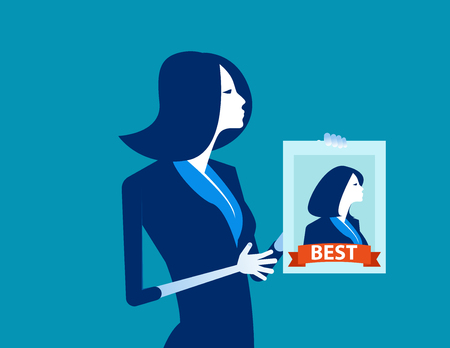 Manager holding the best worker poster. Concept business vector illustration. Flat design style.