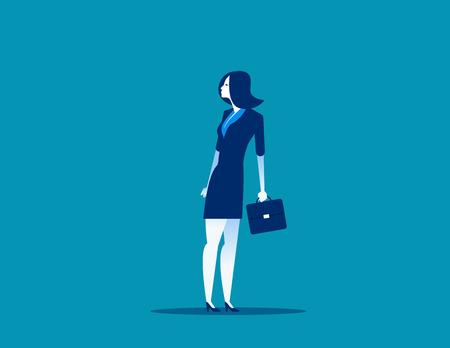 Businesswoman heading in opposite direction to bottom half. Concept business vector illustration. Illusztráció