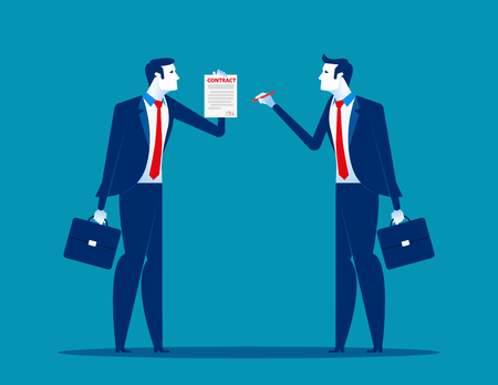 Businessman with partnership and agree to sign contract after to success business discussion. Concept  business vector illustration. Flat design style.