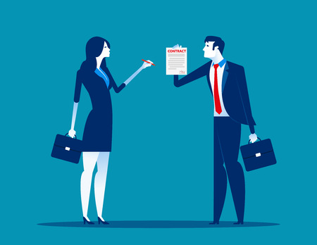 Businesswoman with partnership and agree to sign contract after to success business discussion. Concept  business vector illustration. Flat design style. 일러스트