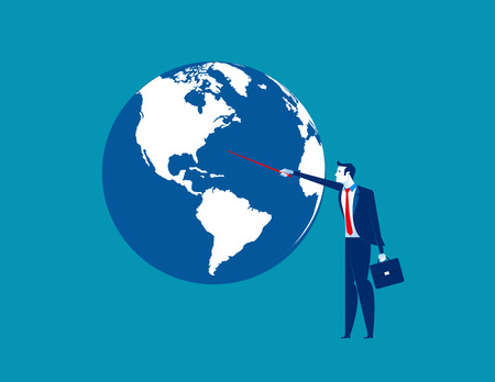 Businessman pointing to globe. Concept business vector illustration.