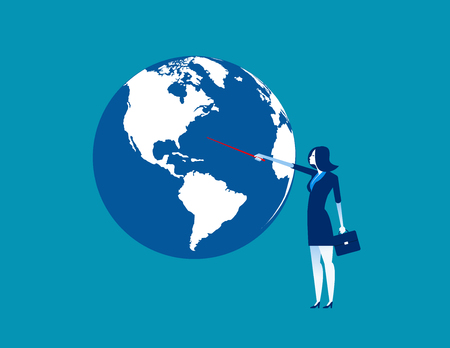 Businesswoman pointing to globe. Concept business vector illustration. 일러스트