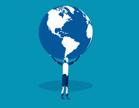 Robot is holding up globe. Concept robotic vector illustration. Flat design style.