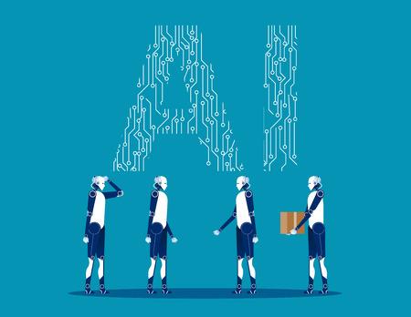 Robot technology future. Concept business vector illustration. Flat design style.