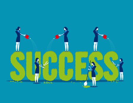 Business people with care plant shape and watering of the word success. Concept business vector illustration. Flat design style. 일러스트