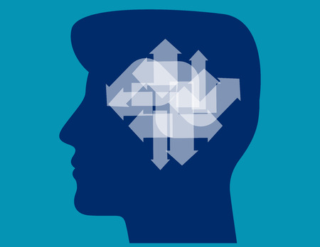 Arrows pointing in different directions inside of man head. Concept business vector illustration.