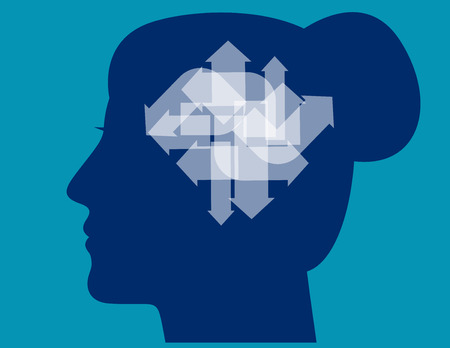 Arrows pointing in different directions inside of woman head. Concept business vector illustration.