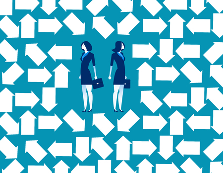 Business people trapped in arrow maze. Concept business vector illustration. Ilustración de vector