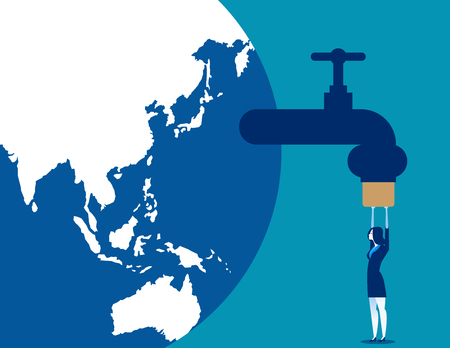 Businesswoman tighten prevent leakage of resources. Concept business vector illustration.
