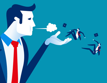 Blown away. Manager dismiss employees. Concept business labor vector illustration.