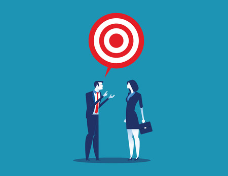 Manager talk with target to success. Concept business vector illustration.
