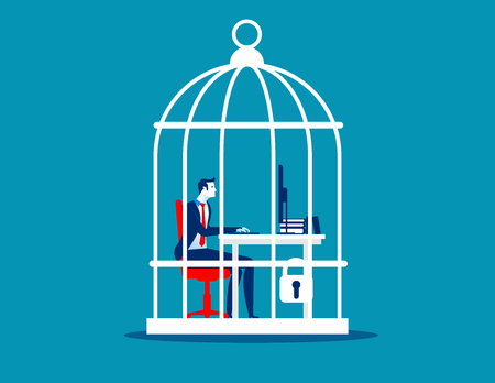 Business man working at desk trapped inside birdcage. Concept business vector illustration. Illustration