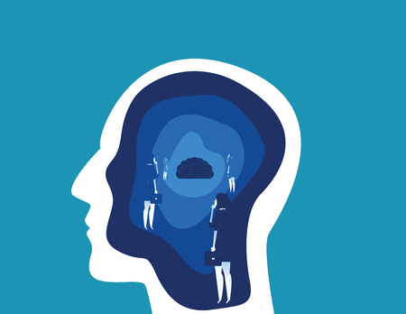 Brain searching with head. Concept business vector illustration. Flat design illustration.