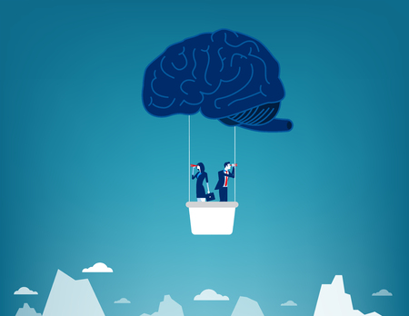 Brain Balloon. Business team and searching. Concept business vector illustration. Illustration