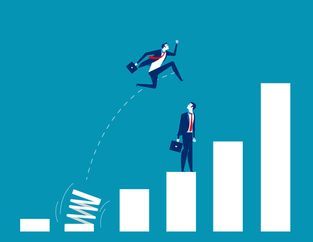 Crecimiento para empresas. Gente y saltos. Ilustración de vector de concepto empresarial. Ilustración de vector