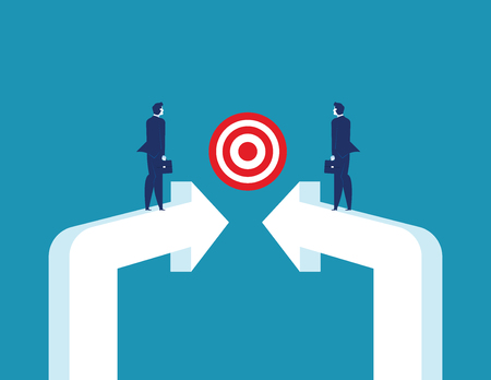Targeted Together. Business partnership and target. Concept business vector illustration.