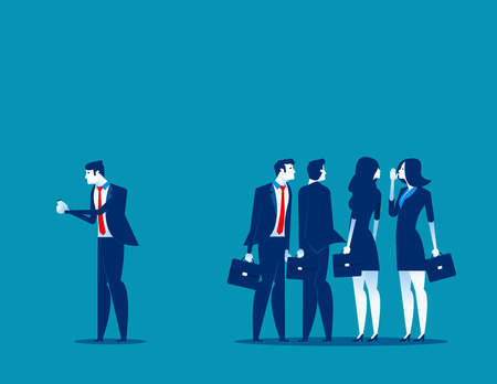 Society at work. Business person separated from the group of friends to using phone. Concept business vector illustration.