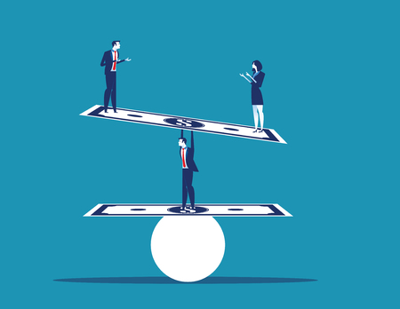 Businessman balancing and standing money. Concept business vector illustration.