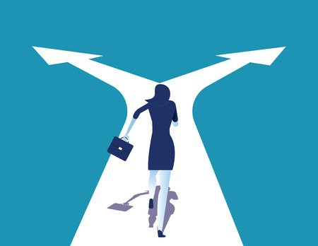 Choice. Businesswoman running on crossroads. Concept business vector illustration. 일러스트