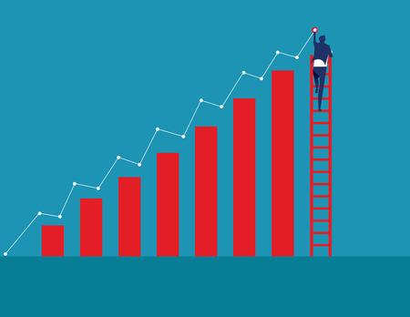 Hombre de negocios en escalera y dibujo tendencia creciente. Ilustración de vectdor de negocio de concepto.