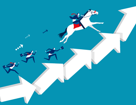 Business team moving up arrow step. Concept business vector illustration.