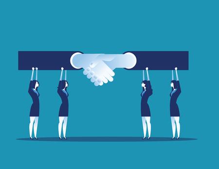 Leader. Business team agreement and handshake. Concept business vector illustration. Çizim