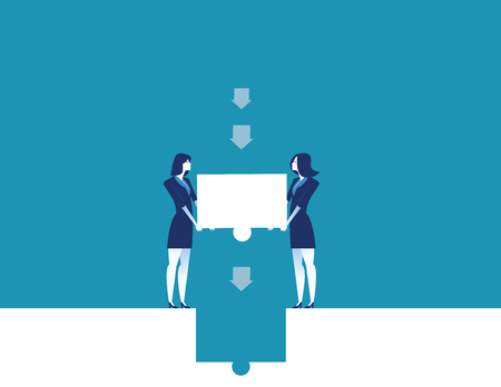 Business team places the final piece of puzzle. Concept business vector illustration.
