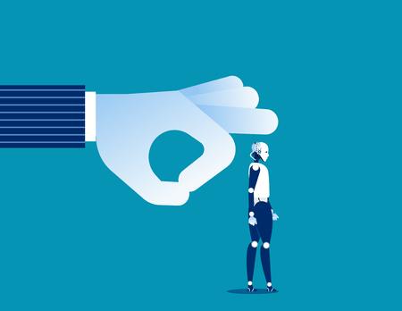 Change. Manager flicking old robot off business. Concept business technology vector illustration. Ilustração