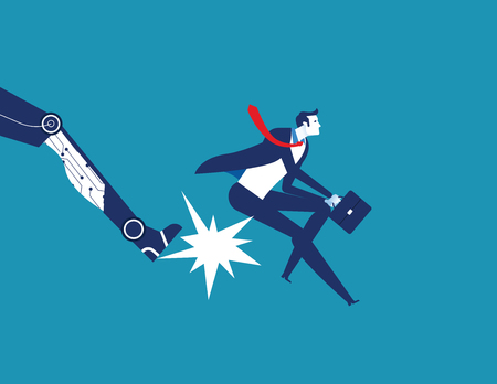 Being fired. Robot foot kicking an employee. Concept business technology vector illustration.