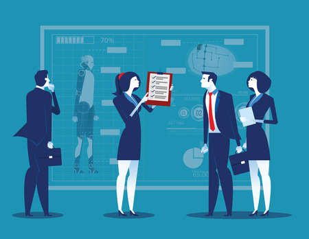 Business people with analysis results and presentation to partners. Concept business vector illustration.  イラスト・ベクター素材